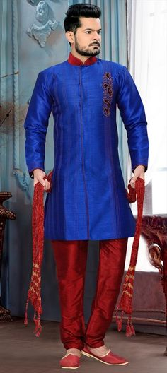 501921 Blue  color family Sherwani in Art Silk fabric with Patch work .