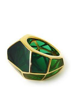 Isharya Emerald Green Louvre Resin Ring