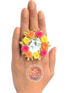 Flower Power Ring (Yellow-Orange) Elegance vintage boho chic bohemian tribal indian ethnic indo-western handmade handcrafted quirky gypsy unique made in india ideas antique beautiful cool awesome indian wedding festive festival diwali party desi stone designer rings design bollywood colorful bright mandalas hand painted india fashion gold silver exotic fringe polki chaand afghani jewellery pakistani gota patti jewelery traditional statement sangeet mehendi jewellery bridesmaid kutchi afghan…