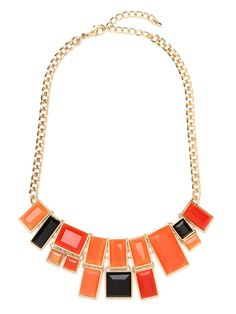 We didn't start the fire, but you won't hear us complaining about this multi-faceted tile bib.  Featuring rectangular tiles in a bevy of flame-like colors arranged in an asymmetrical pattern it's what we call playful luxe.   This is part of the BaubleBar + Nina Garcia Collection