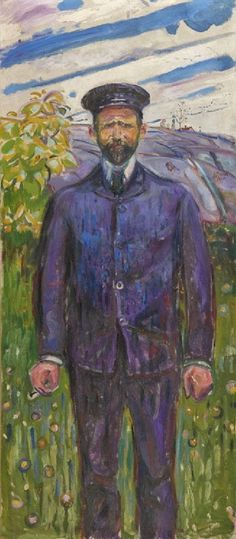 Edvard Munch - Portrait of Ludvig Ravensberg, 1909 (Norwegian 1863–1944) Norwegian artist Ludvig Orning Ravensberg was born in Kragerø in 1871 and died in Sweden in 1958. He was essentially self-taught, apart from a brief spell at the Academy of Art in Munich in 1893. Born into a wealthy family, he enjoyed financial independence, and his study trips abroad were numerous, spending many years of his life in countries such as Italy, Spain, Turkey, Egypt, Greece, France and Tunisia.: