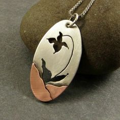 Pendant Necklace Lady Slipper  Mixed Metal by adorned7 on Etsy, $68.00