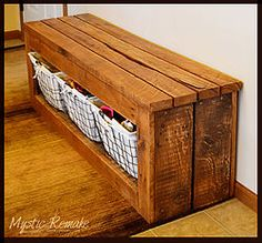 In desperate need of a shoe storage solution by our garage entry, my hubby and I set out to test our pallet wood skills. We had been collecting hardwood pallets�