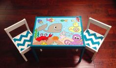 Under the Sea Play Table and 2 Chairs by PaintedbyLinda on Etsy