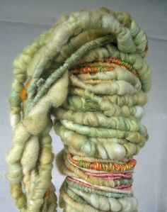 "MyMixMix on Etsy. ""Three Sisters"" poquito skein hand-spun super bulky mixed fiber art yarn."