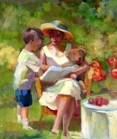 Reading and Art: Sally Rosenbaum Impressionist Art, Impressionism, People Reading, Children Reading, Baie De San Francisco, Reading Art, Woman Reading, Oil Painting Texture, Mother Art