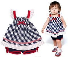 baby girl clothing fashion 2015 cute children clothes plaid suspender T-shirt + pant blue Two-piece ropa bebe infantil conjunto