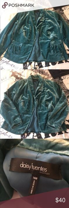 Blue/ teal plus size velvet jacket Super soft and comfy velvet jacket Daisy Fuentes Jackets & Coats Blazers