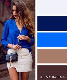 Blue blouse and mini nude skirt - LadyStyle