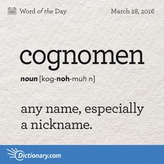 Dictionary.com's Word of the Day - cognomen - any name, especially a nickname.