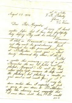 A fun letter from a shearer to his friends, 1939. Written just before the outbreak of WWII, Stanley writes to his friends of his intention of seeing them before he enlists. He also mentions his work as a shearer and station hand. Stanley had helped Margaret and Red elope, fooling her step-father Fortescue. Stanley and Red both enlisted and survived the war. #Letter