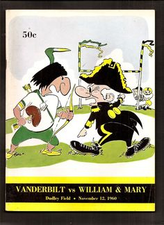 1960 Vanderbilt vs William Mary College Football Program Dudley Field Nice | eBay