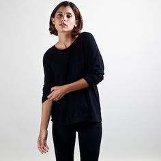 Everlane - Seed Stitch Raglan Black $60