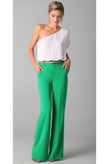Alice + Olivia High Waist Wide Leg Pants in Green