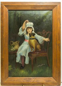 """Antique Painting of Girl With Dog Acrylic Oil On Canvas 19"""" H x 12.5"""" Wide Without Frame"""