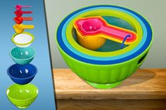 8pc Colourful Mixing Bowl Set for £8.99!