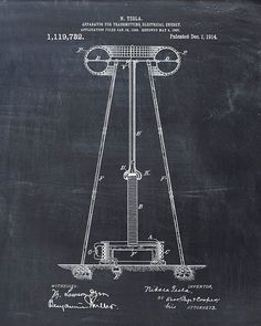 Patent Print  Tesla Coil  Tesla Wall Art  Tesla by VisualDesign, $6.95