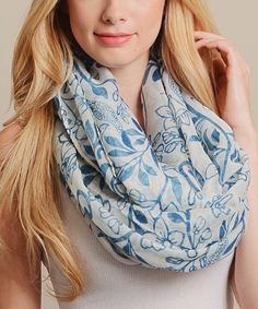 Another great find on #zulily! Leto Collection Ivory & Blue Floral Infinity Scarf by Leto Collection #zulilyfinds