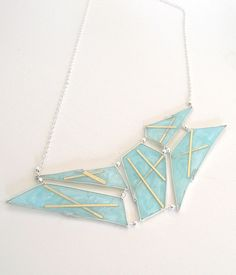Mozaic light blue resin necklace with gold filled inlay by etsy artist Carla De La Cruz