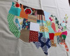 Love this idea - making a US Map out of fabric scraps!!