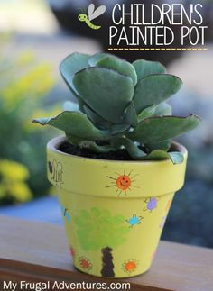 840f44875a8 Children s Fingerprint Painted Pots - Perfect Gift Idea. Diy Mothers Day ...