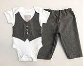 Boys suit, baby suit, little boys wedding outfit, baby boy clothes, little boy suit, baby tie, boys grey vest and tie