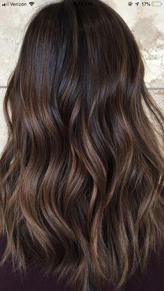 Brown Hair Balayage, Balayage Brunette, Hair Color Balayage, Brunette Hair, Hair Highlights, Gorgeous Hair Color, Hair Color For Black Hair, Hair Looks, Hair Lengths