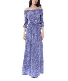 Look what I found on #zulily! Vergans Blue Abstract Off-Shoulder Maxi Dress by Vergans #zulilyfinds