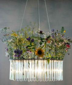 Astonishing DIY Light Fixtures 29. Test tube chandelier with flowers