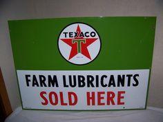 "Large Vintage 1955 Texaco Farm Lubricants Motor Oil Tractor 42"" Porcelain Sign"