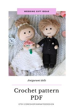 Two crochet dolls with wedding outfits - PDF pattern bundle - 4 patterns. Etsy/Ravelry. Girl doll has 11 more outfits available. Amigurumi doll pattern. Crochet Toys Patterns, Stuffed Toys Patterns, Crochet Dolls, Crochet Hats, Wedding Outfits, Wedding Gifts, Project Yourself, Make It Yourself, Crochet Wedding