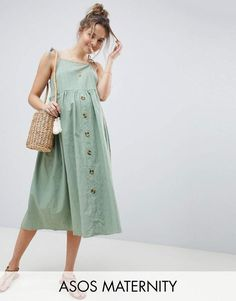 c13c385051 Asos Maternity Asos Design Maternity Button Through Casual Cami Midi Smock  Sundress Casual Maternity, Asos