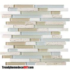 x Sample - Bliss Spa Stone and Glass Linear Mosaic Tiles - Kitchen Backsplash/Tub Surround - point tile deal wood Stone Mosaic Tile, Mosaic Glass, Glass Tiles, Bliss Spa, Contemporary Tile, Herringbone Backsplash, Travertine Backsplash, Beadboard Backsplash, Mosaic Backsplash
