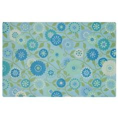 $229 Land of Nod Kids Room Decor: Kids Blue Floral Mums Rugs in All Rugs