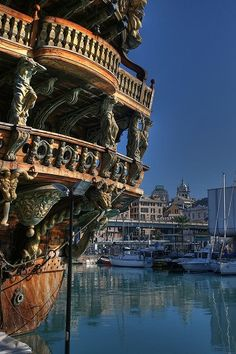 """Visitors to Genoa Italy can learn about the 17th century Genoese pirates at a replica of a pirate ship.  The ship, called the Galeone Neptune, was constructed for Roman Polanski's 1986 feature film entitled """"Pirates"""".  The Galeone Neptune ship can be found near the Genoa Aquarium at the Old Port of Genoa, Italy"""