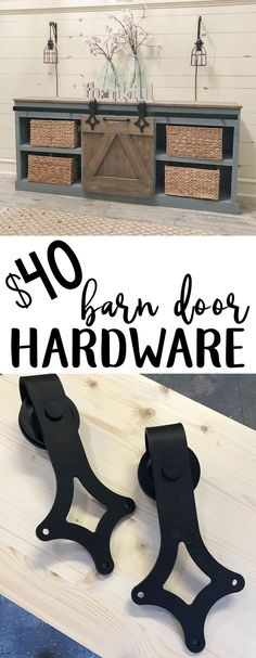 Sliding Barn Door hardware for $40... YES PLEASE! Link and tutorial to build the console with it!