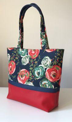Women shoulder bag, flowers, navy, red, colorfull