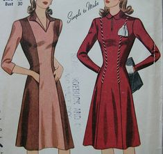 Fabulous Vintage 40's Misses Dress Pattern SIMPLE by yardofgoods, $25.00