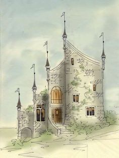Lostroh Castle - Elevation   Storybook House Plans from New South Classics  storybook cottage house plans