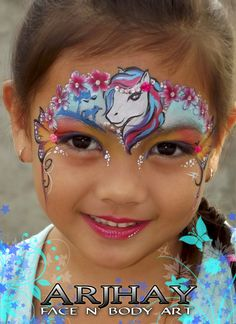 Face Painting Unicorn, Girl Face Painting, Belly Painting, Face Painting Designs, Unicorn Eyeshadow, Unicorn Makeup, Unicorn Facepaint, Tiger Makeup, Mask Face Paint