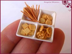 Tray of snacks in dollhouse miniature scale by CDHM Artisan Erzsébet Bodzás of Hungarian Miniatures, www.cdhm.org/user/ebodzas