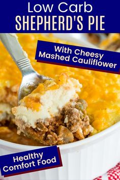 Keto-Friendly Shepherd's Pie is topped with mashed cauliflower and cheddar cheese to keep all the flavor you love in the traditional comfort food casserole while cutting the carbs. This healthy ground beef recipe is the kid-friendly meal you need so that everyone in the family can enjoy it, whether they are low carb, gluten free, or want to serve it with a side dish like bread, rice, or potatoes. Gluten Free Recipes For Dinner, Recipes Dinner, Low Carb Shepherds Pie, Keto Shepherd's Pie, Healthy Comfort Food, Comfort Foods, Cheesy Mashed Cauliflower, Healthy Ground Beef, Beef Recipes