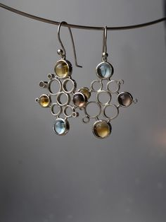 https://flic.kr/p/sdZb8u | earrings - modules for Anna |  silver, topaz, citrine, smoky quartz