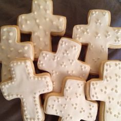 "Cross cookies with dots and sugar ""pearls""."