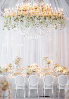Wedding Decor Ideas - This floral chandelier steals the show. Perfect Wedding, Dream Wedding, Wedding Day, Gold Wedding, Reception Decorations, Event Decor, Wedding Centerpieces, Lustre Floral, Wedding Table