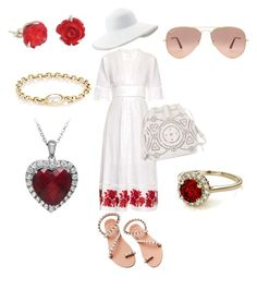 """""""Rollin' in Red"""" by myladyduchess on Polyvore featuring Zimmermann, Elina Linardaki, Eric Javits, Ralph Lauren, Finn, Lily Charmed and Ray-Ban"""