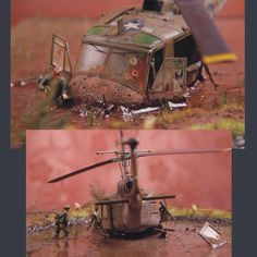 Vietnam, Helicopter Unknown modeler From: taringa Bell Helicopter, Ero Guro, Military Action Figures, Toy Soldiers, Model Building, Military Art, Vietnam War, Pictures To Paint, Plastic Models