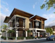 Discover recipes, home ideas, style inspiration and other ideas to try. Modern Filipino House, Modern Zen House, Contemporary House Plans, Rustic Contemporary, House Fence Design, Bungalow House Design, Design Your Dream House, Modern Exterior House Designs, Dream House Exterior