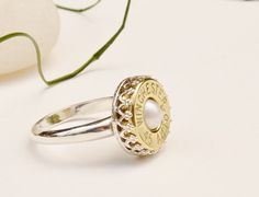 Sterling Silver and Pearl  Bullet Ring - Your Choice of Caliber - LLJ167 on Etsy, $70.00