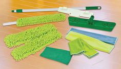 """Quick Clean n Green Microfiber Mop & Cloth Deluxe Set $69.99 4 cleaning all hard surfaces in home or office. Environmentally friendly. Reusable.  Eliminate need for harsh and dangerous chemicals. Includes One 5' Telescoping Mop Handle with 15"""" swivel mop head; one 16"""" chenille mop pad for for damp or wet use, dry dusting; One 16"""" scrubbing pad; One 16"""" multi-purpose pad for cleaning, drying & polishing; 1 11"""" swivel mop head, one 12"""" multi-purpose mop head, 3 Micro Fiber cloths, wall…"""